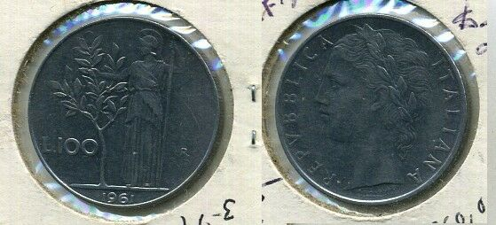 1961 ITALY 100 LIRE COIN XF AU 7725B