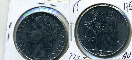 1956 ITALY 100 LIRE COIN AU  7723B