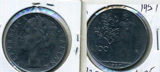 1957 ITALY 100 LIRE COIN AU BU 7722B