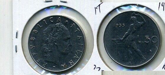 1955 ITALY 50 LIRE COIN  AU 7730B