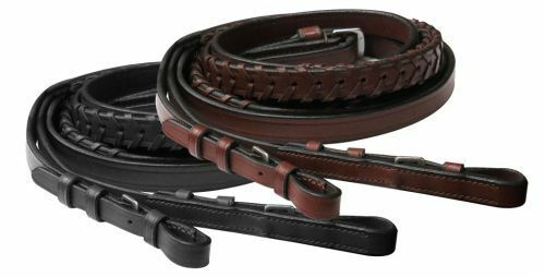 """English Saddle Horse Black or Brown 54"""" X 1/2"""" Fine Laced Leather Bridle Reins"""
