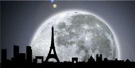 Canvas Wall Art Paris Under Moonlight, Wall Art 60 x 120 cm 100% Original Art Painting!