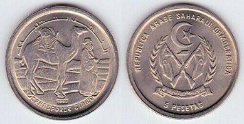 SAHARAWI: UNCIRCULATED 1992 COIN TRIO: 1, 2 AND 5 PESETAS