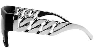 Flat Top Chain Link Retro Rapper Hip Hop Black Silver Sunglasses Men Women Chome