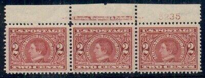 US #370, 2¢ carmine, Plate No. Imprint Strip of 3, og, NH, hinge in mgn, VF