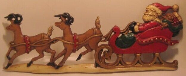 Old Metal Christmas Santa w/ 2 Reindeer & Sleigh Wall Plaque signed ZZ