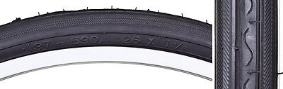 26 X 1 3/8 Road Bike Bicycle Fixie Tire Set 2 Tires 2 Tubes & Strips Black Wall