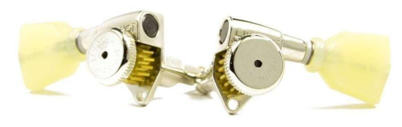 Hipshot® Nickel 3+3 Locking Tuners~UMP Upgrade Kit~A04 Vintage Buttons~Brand New