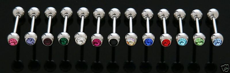 "25 14g CZ GEM Steel Tongue Rings WHOLESALE Lot NEW 5/8"" Barbells Piercings"