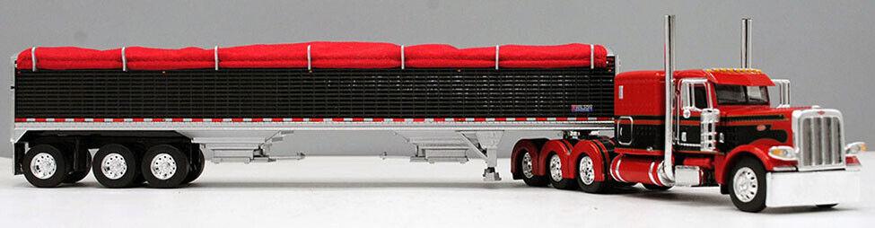 DCP 1/64 Red Black 389 Peterbilt Tri-Axle Wilson Grain Trailer 60-0734