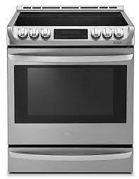 Cuisinière électrique 30 po LG,6.3 pi.cu.,Autonettoyante,Convection,Tiroir réchaud,Acier Inox,(SKU:1102),LSE5613ST