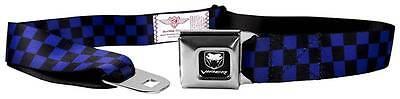 Seatbelt Men Canvas Web Military Dodge Viper SRT Checker Black Neon Blue