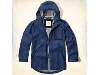 HOLLISTER mens blue size LARGE hooded jacket (parka) £35 OFF