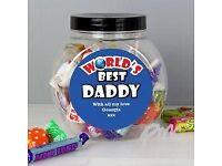 Personalised Blue 'Worlds Best' Sweet Jar