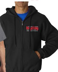 BIG DOG MOTORCYCLES  XL BLACK ZIP SWEATSHIRT SIGNATURE LOGO FRONT/BACK DESIGN