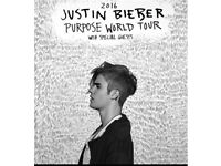 2 Justin Bieber purpose tour tickets floor seated London o2 29/11/16
