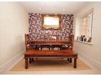 Solid wood dining table with bench and chairs