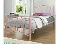 Pink metal bed frame - single