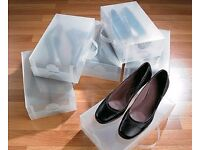 10 x CLEAR PLASTIC SHOE BOXES + 2 pairs boot supports