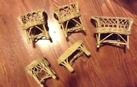 Set of wicker Barbie sized doll furniture for sale