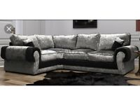 Exclusive crushed velvet sofa with FREE FOOTSTOOL #
