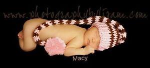 Elf-Hat-Newborn-Baby-Photography-Prop-Pink-Brown-Handmade-Crochet