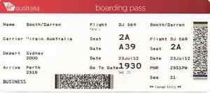 Virgin Australia return ticket Perth to Syd Mel Bris Adl inc 23kg Applecross Melville Area Preview