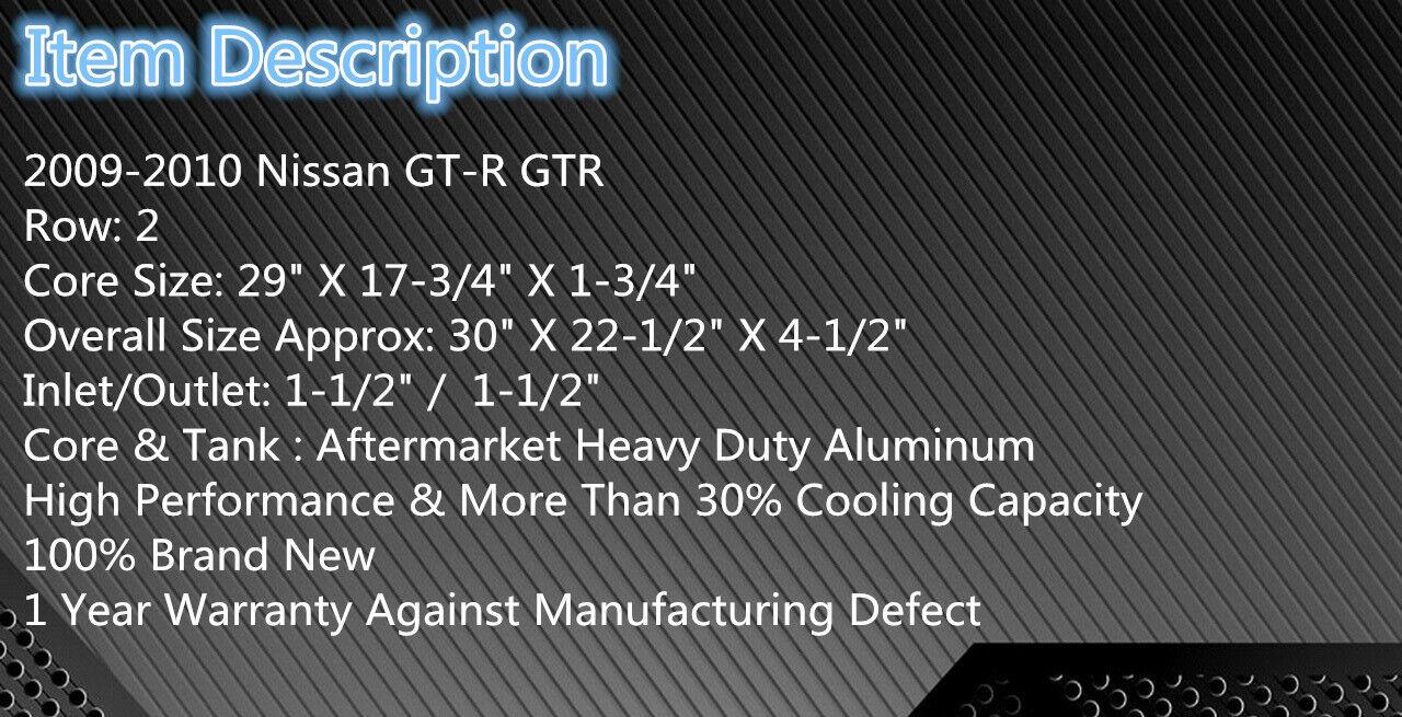 GTR R35 3.5L//3.8L 2Row Aluminum Radiator Fit For 2009-2010 Nissan GT-R