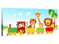 "Children's Jungle Animal Train - Canvas Art Print Picture - 40"" x 20"" Nursery Picture"