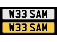 W33 SAM: rare and cherished registration/number plate for sale