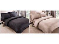 Satin Stripe Complete Bed Sets Mink & Black