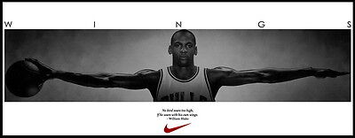 "60 Michael Jordan Wings NBA Basketball MVP Star Art 36""x14"" Poster"