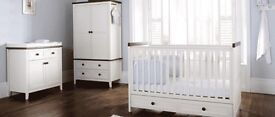 Silver cross nursery furniture ( cot/toddler bed, wardrobe and changing unit/cupboard