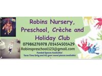 Ofsted registered childcare, Nursery, preschool, crèche, holiday club, emergency childcare flexible