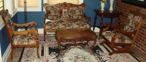 Antique Victorian RARE WALNUT Parlor SET Professionally Tapestry Upholstered