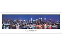 BRAND NEW, official, panoramic framing poster of the New York City skyline at night!