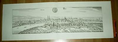 Basel Bale Basilea alte Ansicht Merian Druck Stich 1650 (schw)