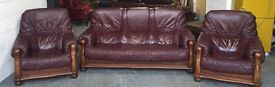 Chesterfield Style Italian Leather&Oak Brownish/Redish 3 Piece Sofa Set .WE DELIVER