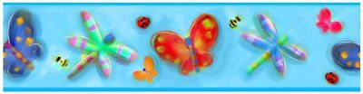 Jelly Bugs Border - ROOMMATES JELLY BUGS WALLPAPER BORDER - KIDS BEDROOM / NURSERY BUTTERFLY NEW