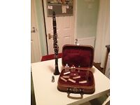 Clarinet, used, gd cond. Includes case and cleaning accessories plus reeds. Brand: Corton.