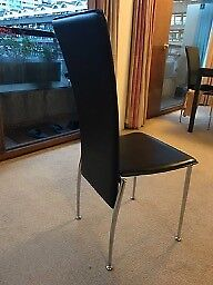 Modern black leather dining chair with chromed legs