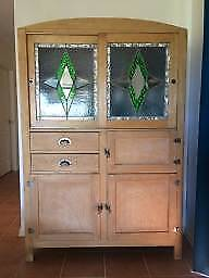 Vintage kitchen dresser with original leadlight and fittings
