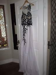 White Formal Dress with Black detail