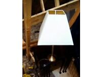 Brass stem table lamp.