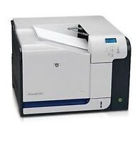 HP Color Laser Jet CP3525N printer w/ 4 extra new toners