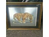 This classy, 1970;s vibrant Mirror art background, picture of a Tiger