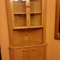 2 Oak Corner Unit China Cabinets