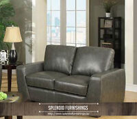 BRAND NEW!!! BONDED LEATHER ASH GREY COLOUR LOVE SEAT CLEARANCE