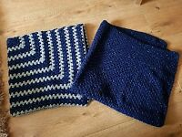 2 knitted Baby blankets with sparkly bits all through them navy and navy and grey