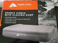 Double airbed with electric pump